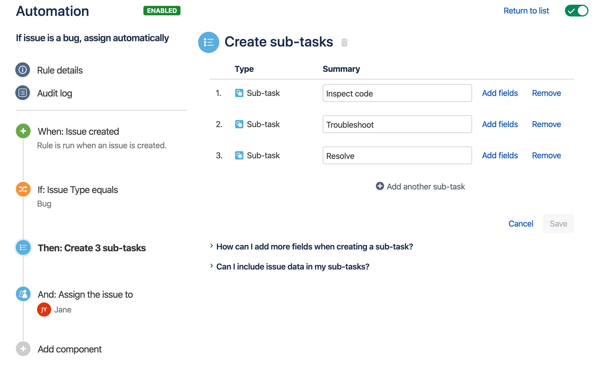 Przykład konstruktora reguł zawierającego prostą regułę do automatycznego dodawania zadań podrzędnych do nowych błędów i przypisywania ich do użytkownika.