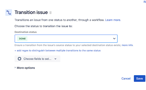 Jira automation rule to transition issues Step 3 Add a Transition Issue action