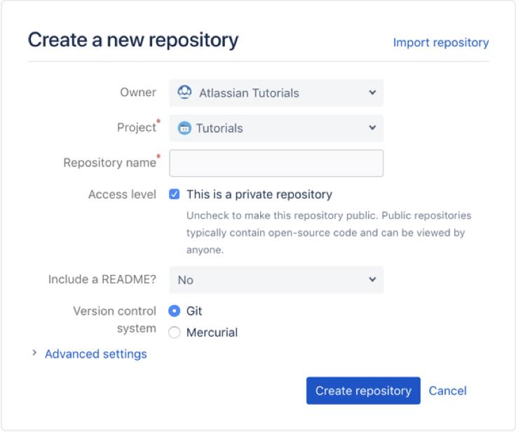 Criar um novo repositório