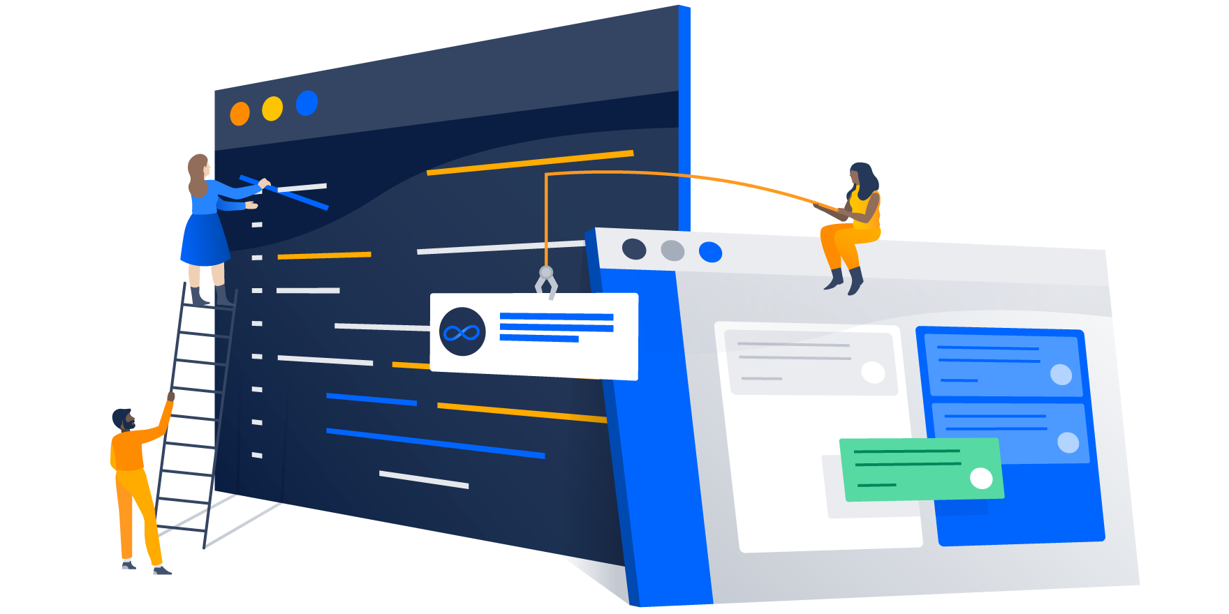 Illustration of code terminal and a Jira ticket being brought over