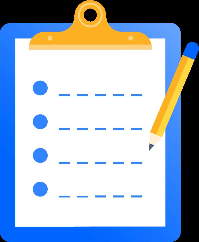 Ilustrație prezentând un clipboard cu hârtie și creion