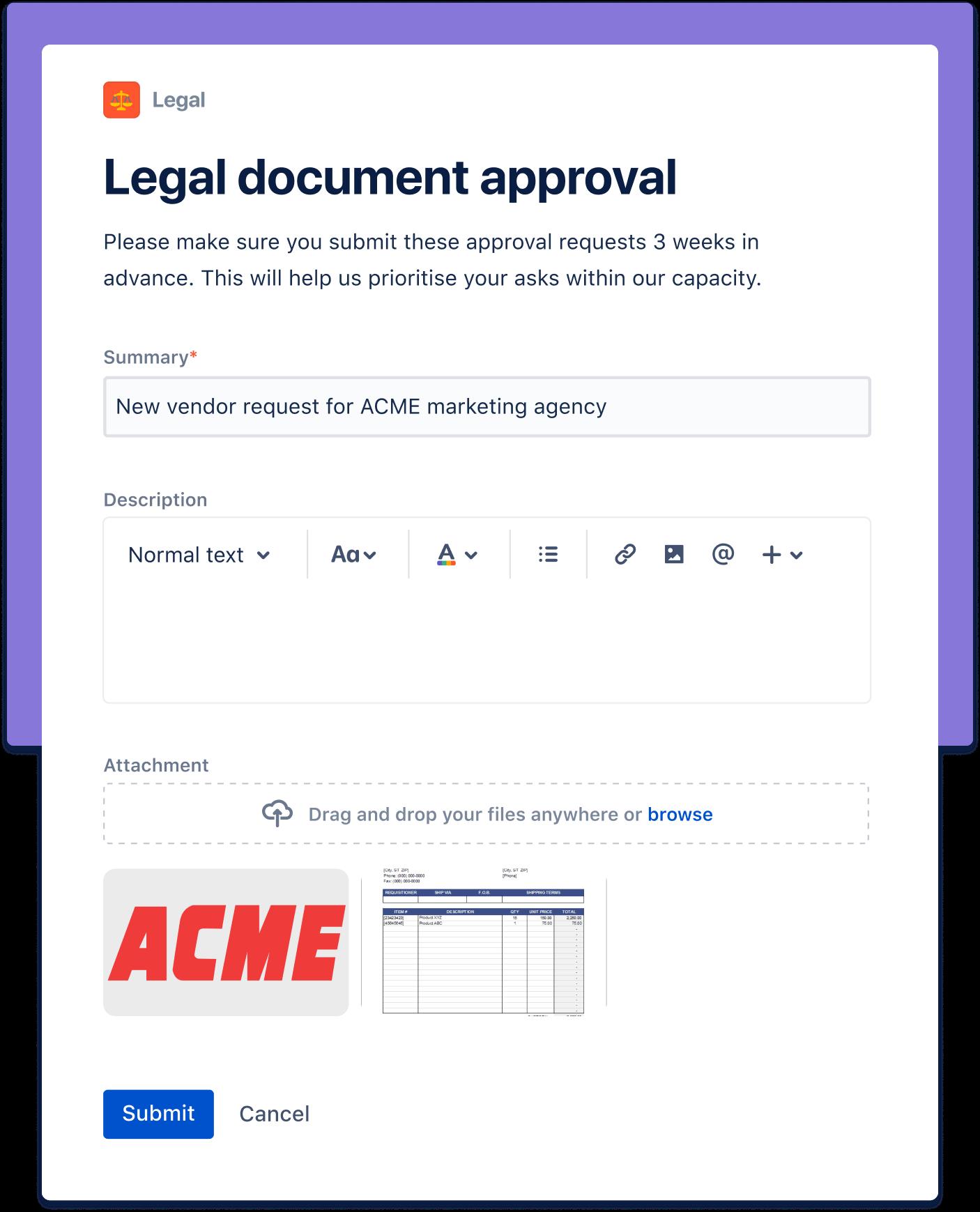 법무 문서 승인 스크린샷