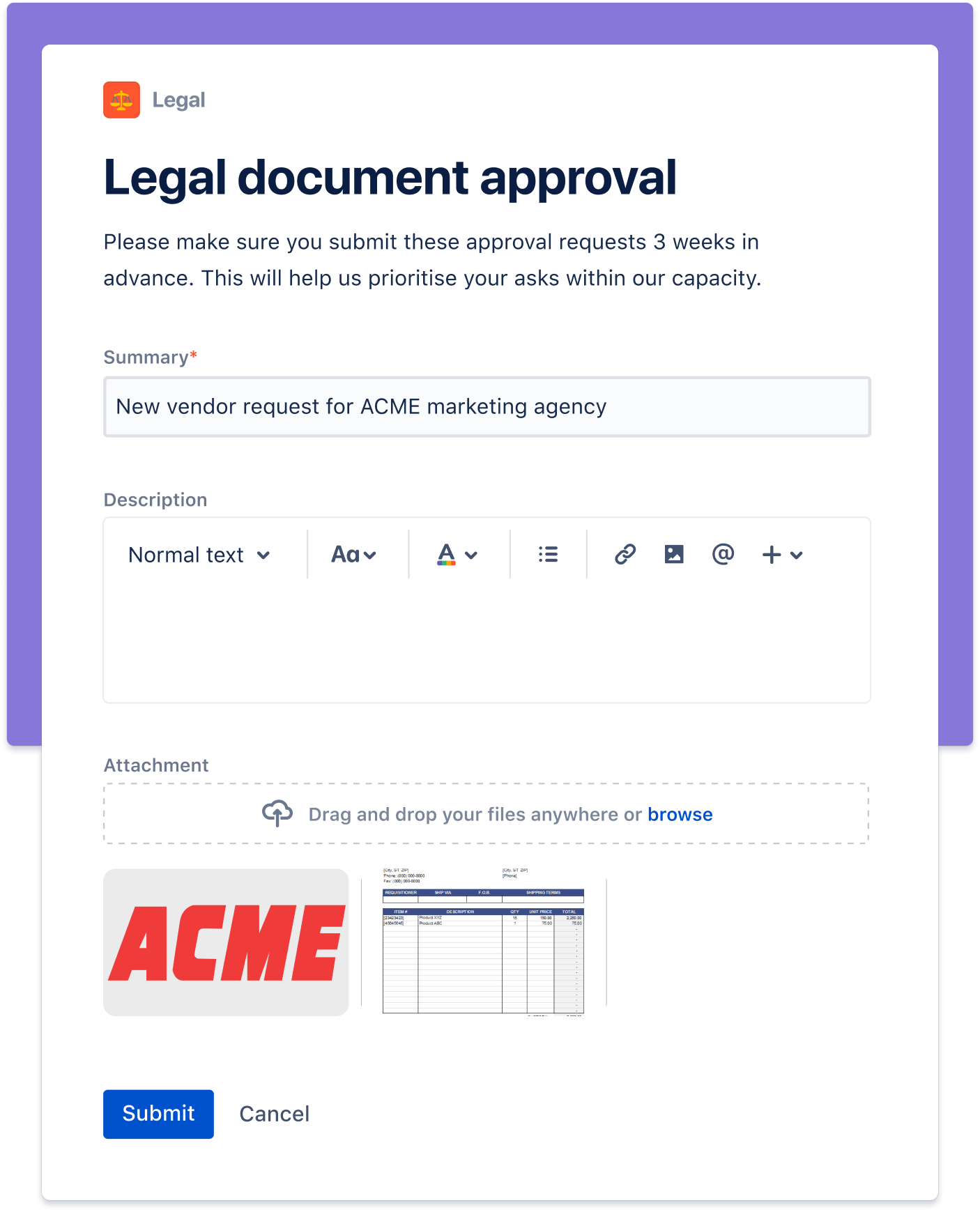Legal document approval screenshot
