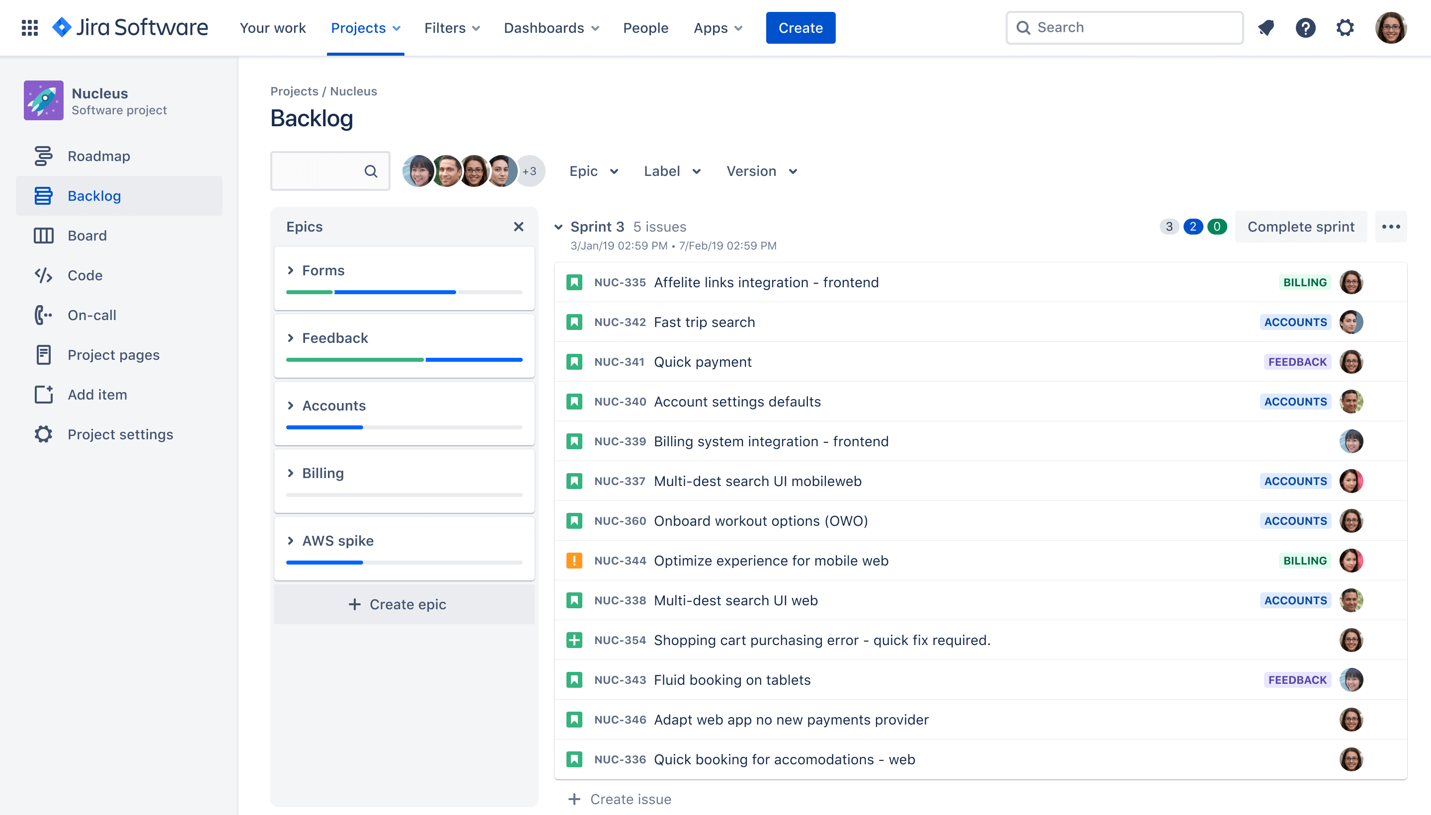 Jira Software scrum sprints view of the backlog