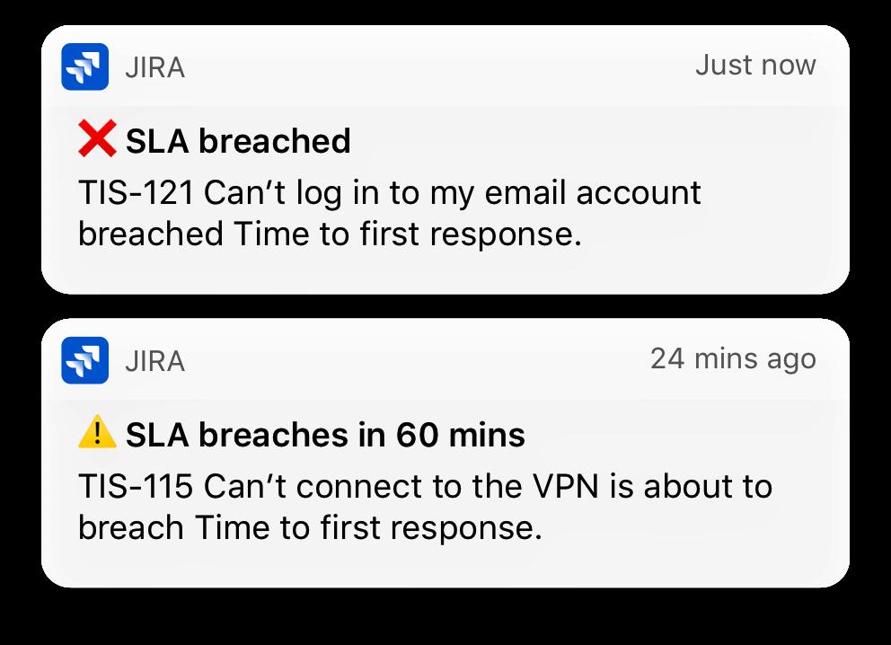 Jira Service Desk モバイルアプリからのモバイル通知