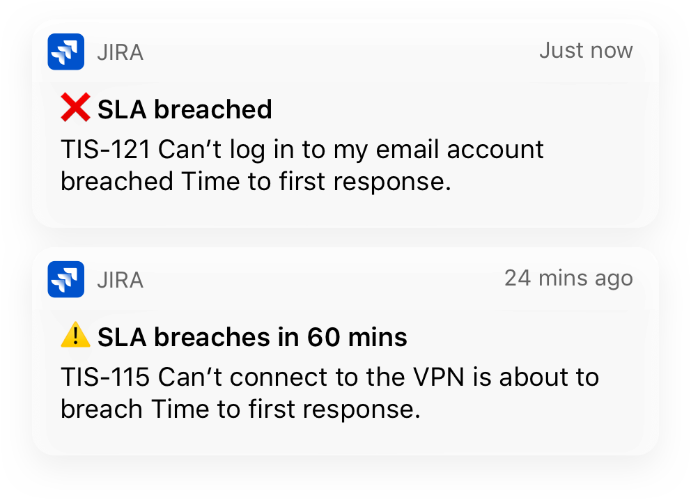 Mobile notifications from Jira Service Desk mobile app