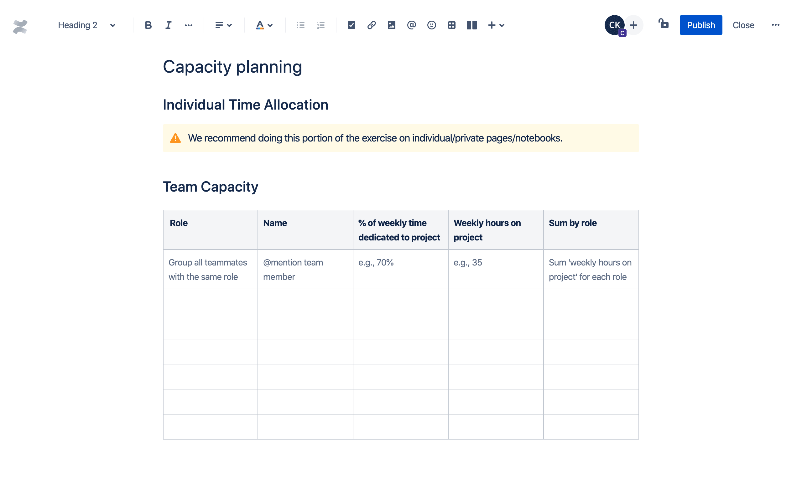 Template de planejamento de capacidade