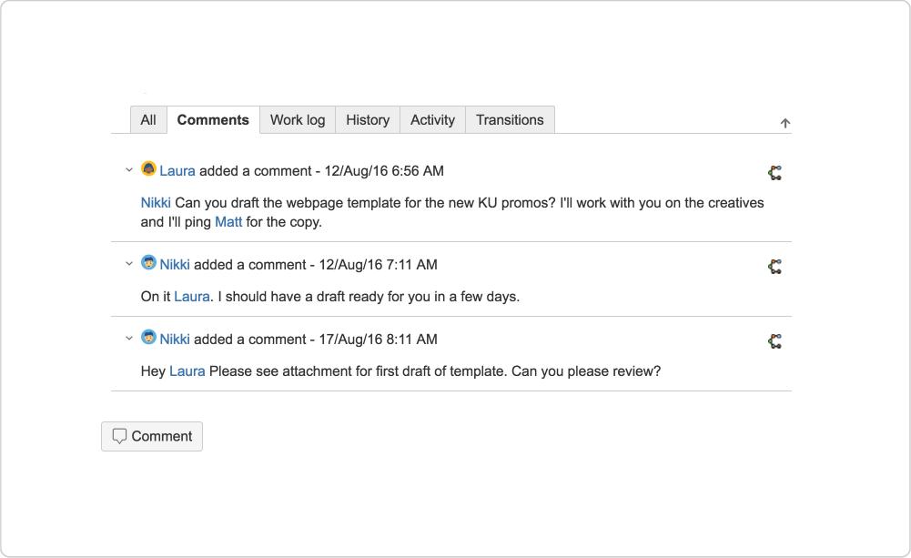プロジェクトの進捗を追跡する Jira チケットのコメント