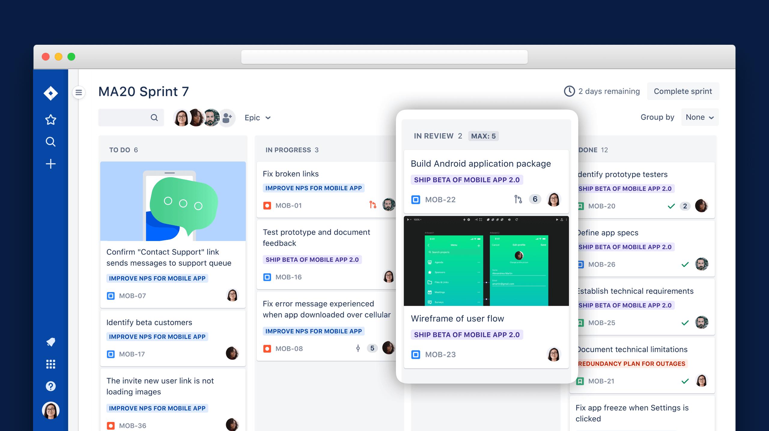 Tarjetas kanban digitales como se muestra en un tablero de Trello | Orientador ágil de Atlassian