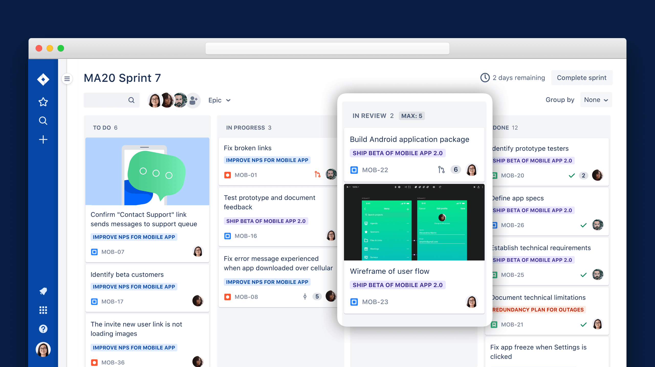 Cartões Kanban digitais num painel do Trello | Atlassian Agile Coach