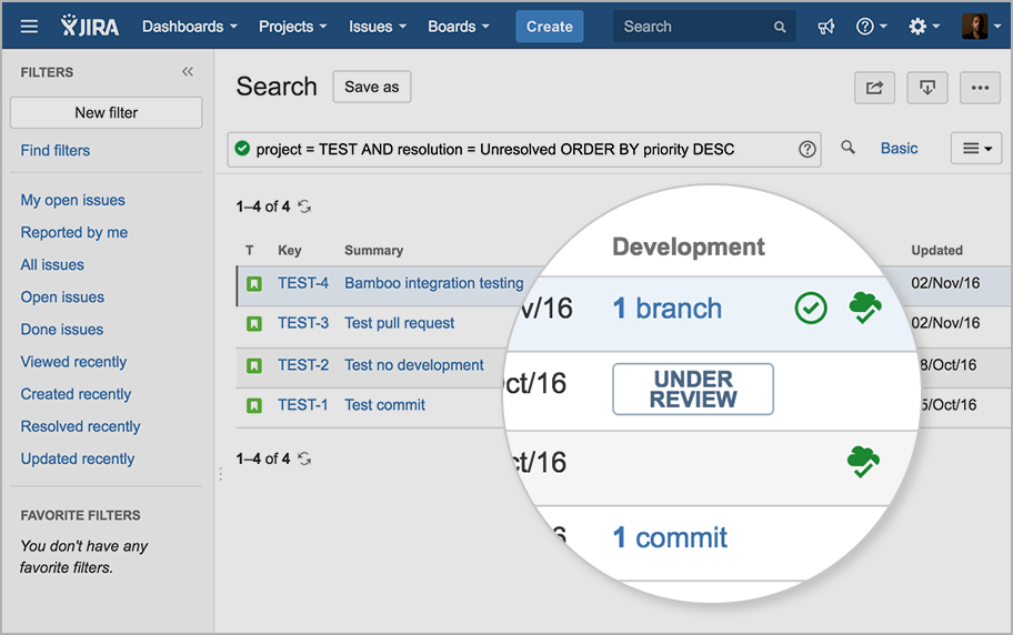 Jira board with development status section highlighted