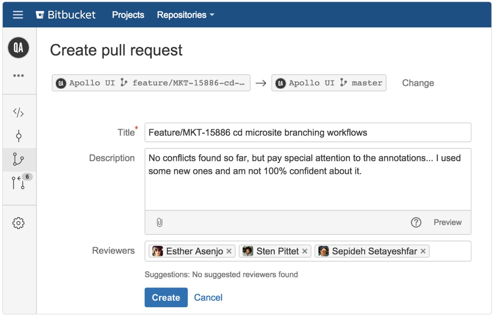Снимок экрана: запрос pull в процессах Bitbucket | Atlassian CI/CD