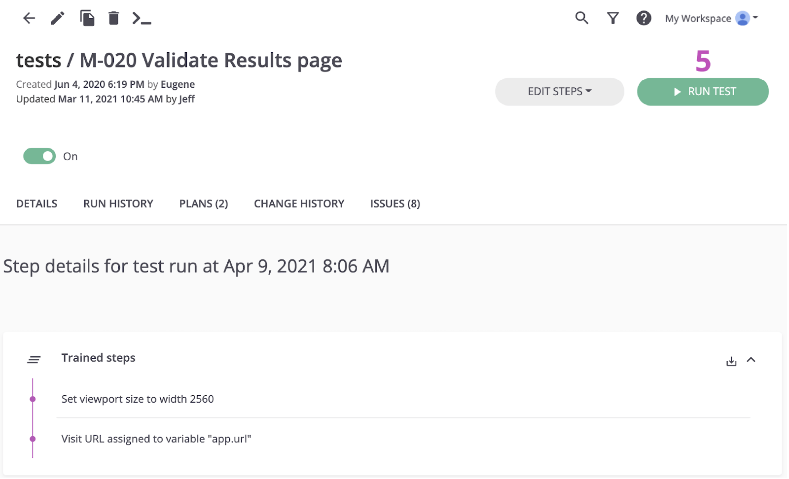 Tests / M-020 Validate Results page