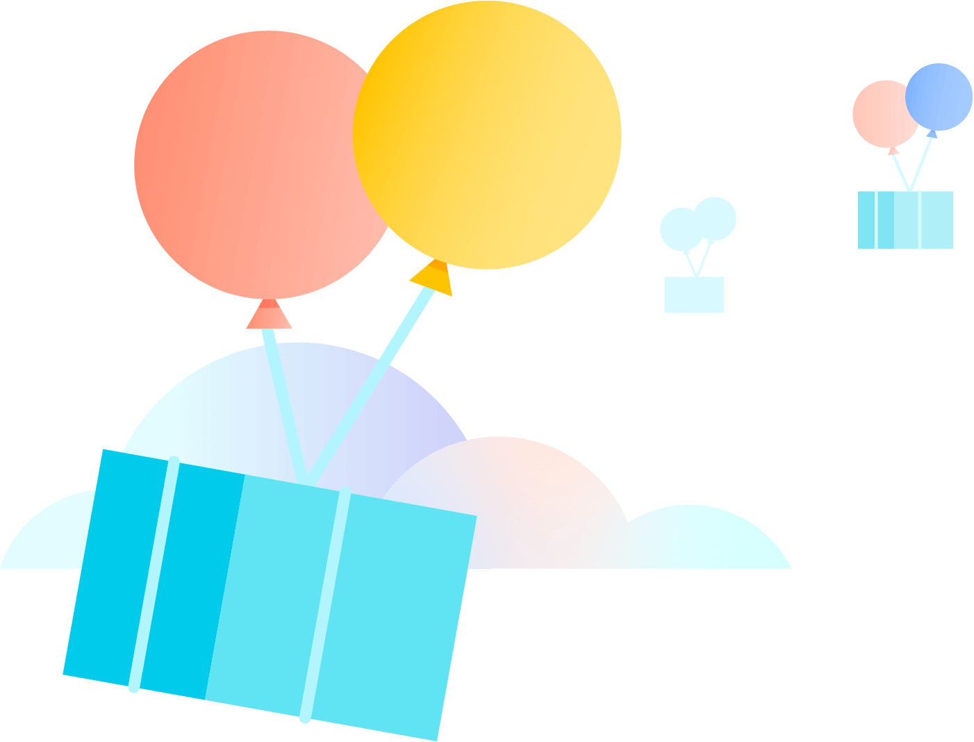 Containers with balloons