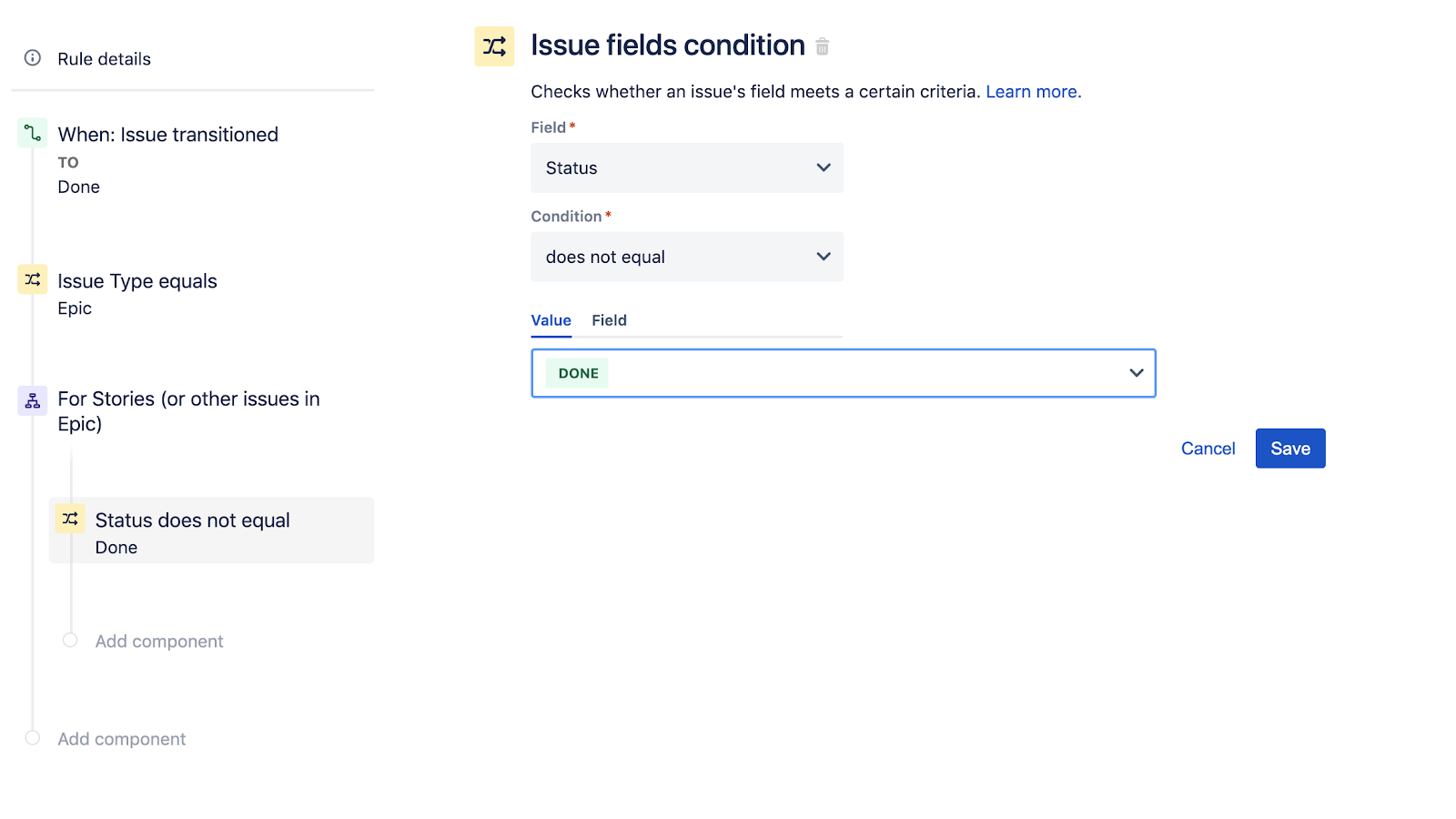 Configuring Issue Fields Condition in Jira Software