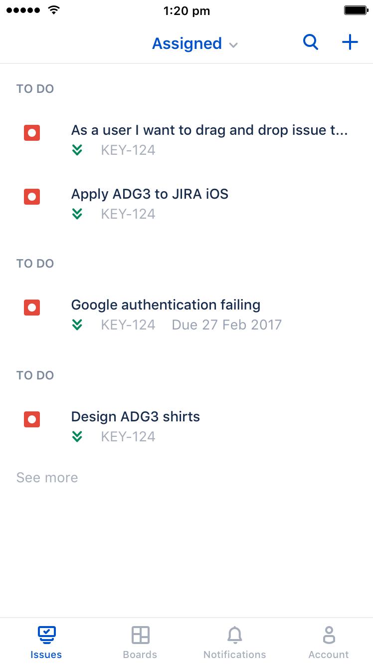 JiraSoftware pour iOS – Recherchez des tickets