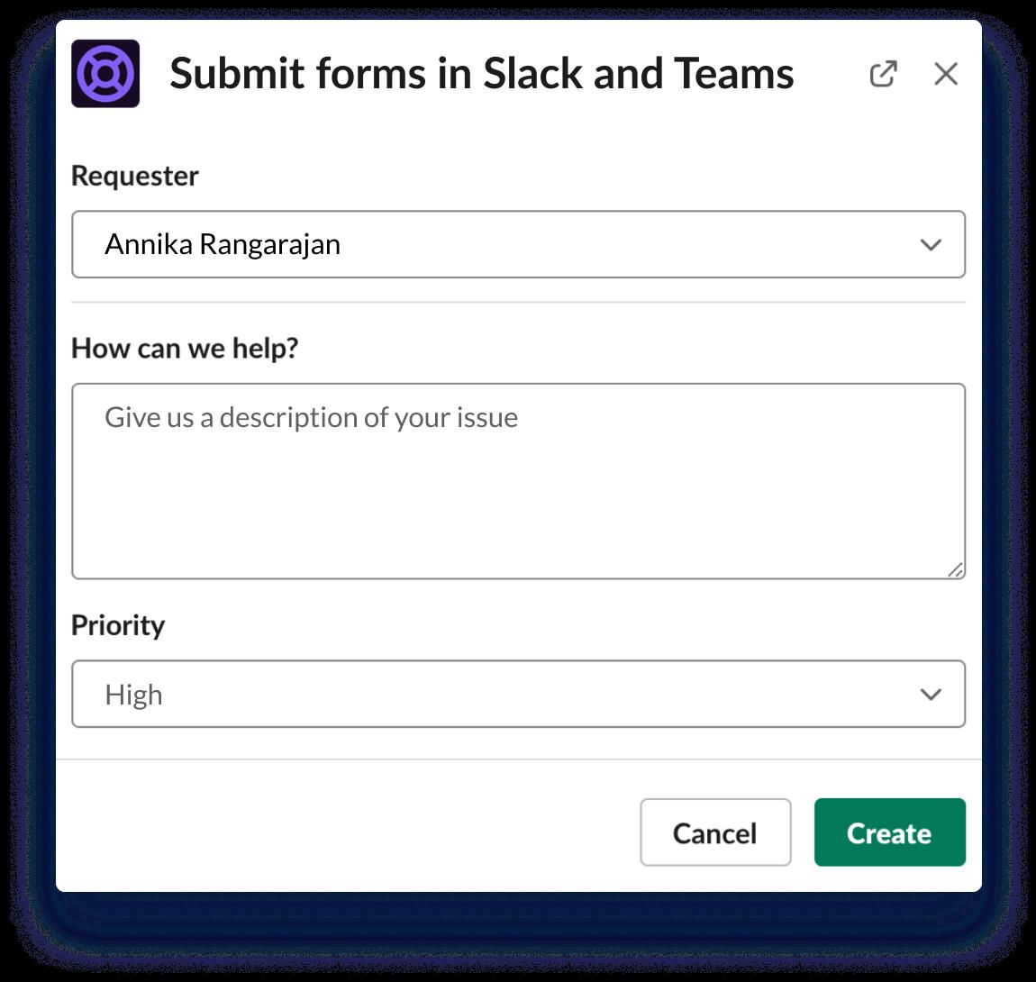 Envoyez des formulaires dans Slack