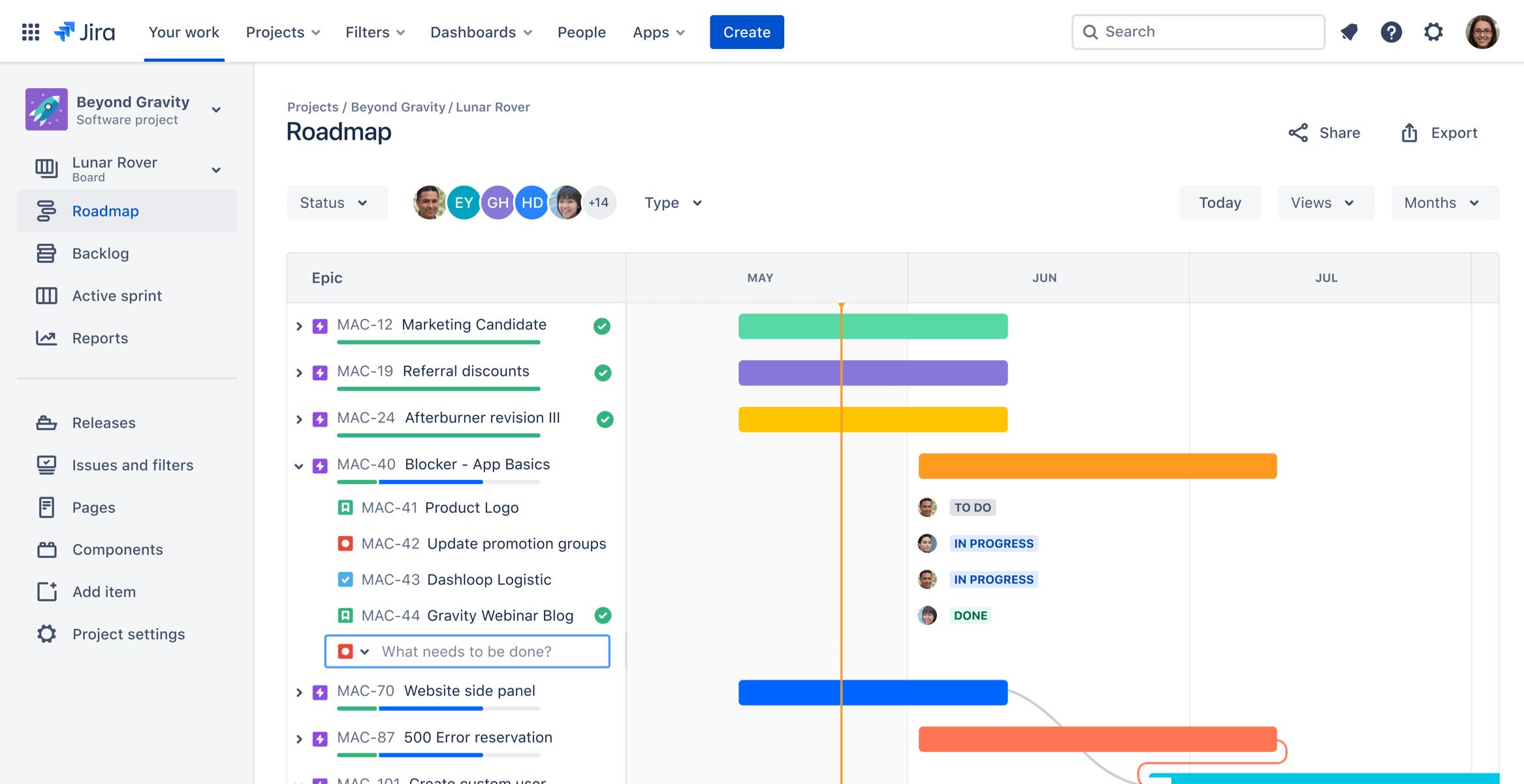 Captura de pantalla de un diagrama de Gantt específico de un proyecto en Jira Roadmaps | Orientador ágil de Atlassian