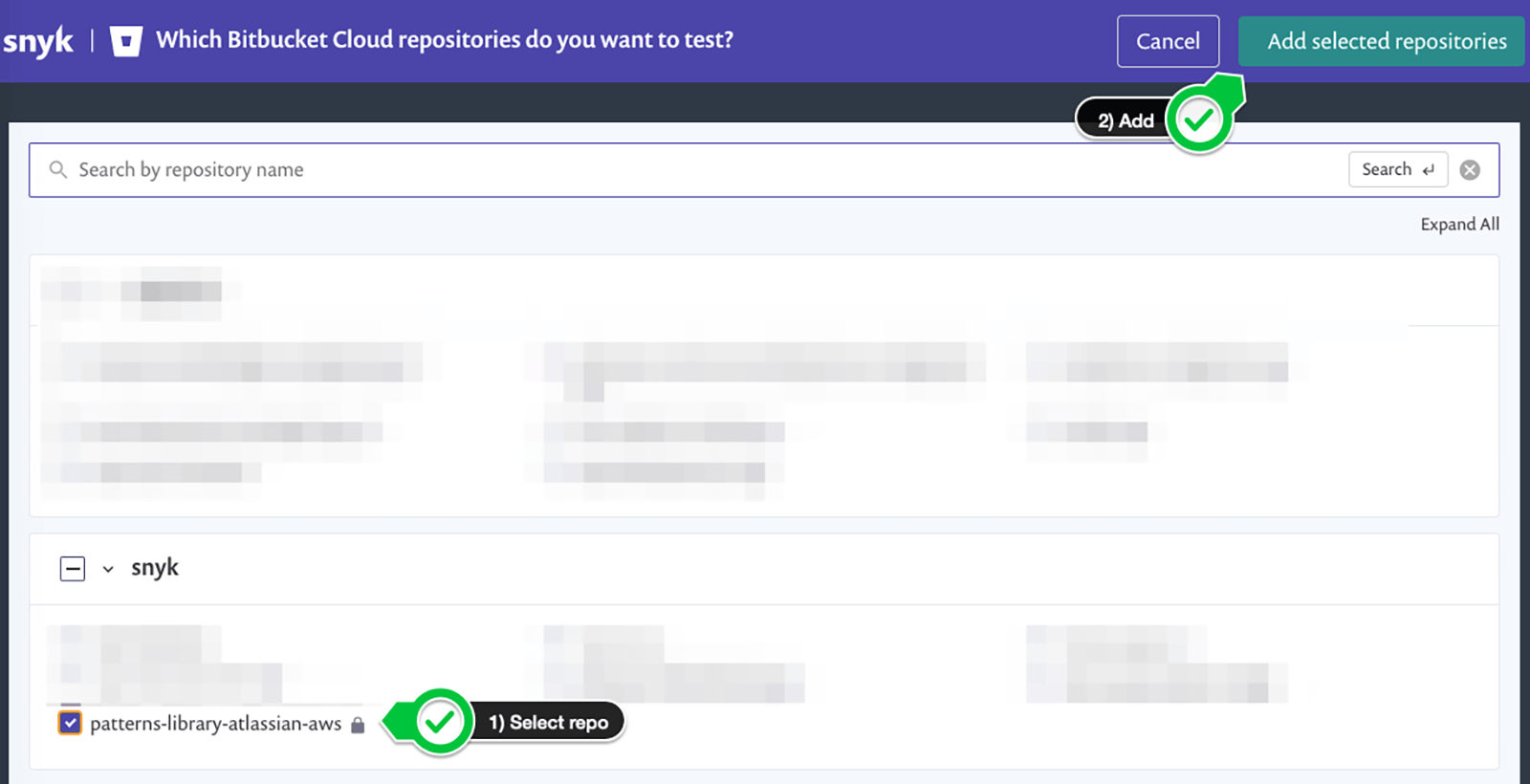 Add selected repositories button in top right corner