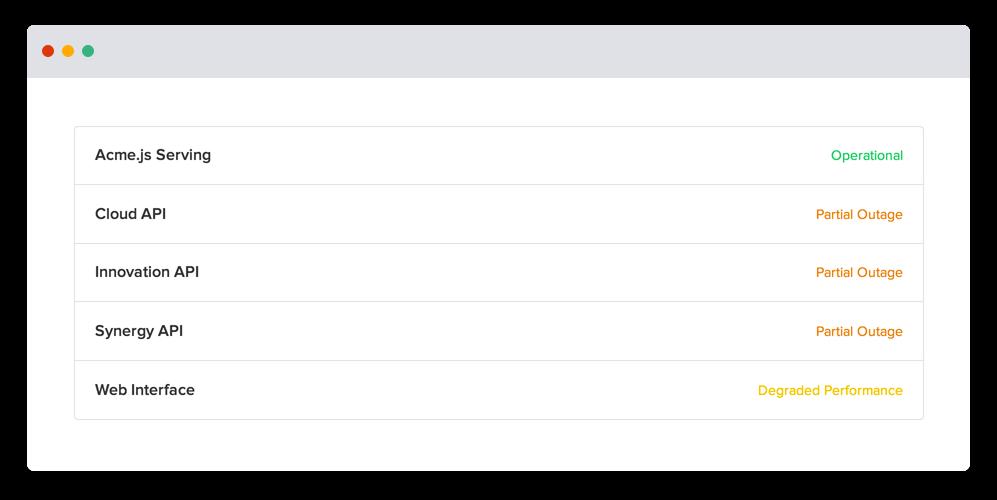 Statuses screenshot