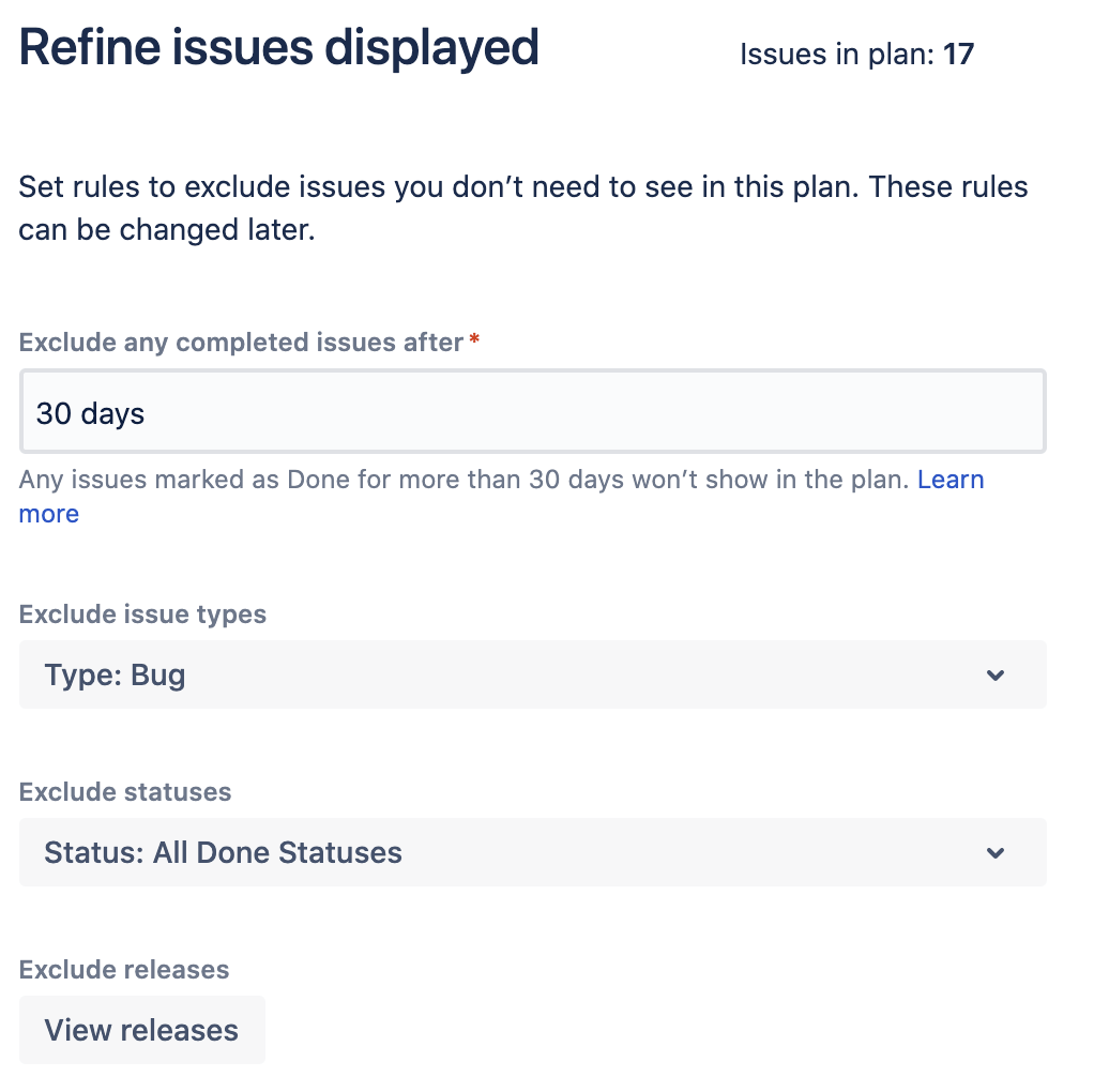 Refine issues displayed in Advanced Roadmaps