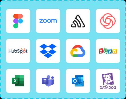 Aplikacje tylko w chmurze: figma, zoom, google cloud, dropbox, datadog, microsoft teams, hubspot