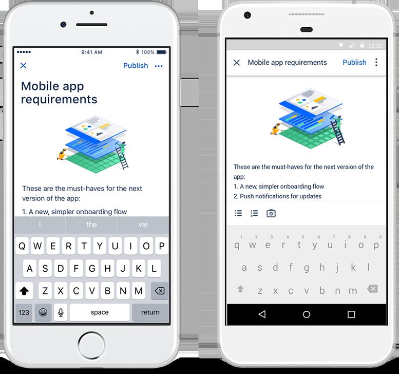 Erstellen von Confluence-Dokumenten auf einem Smartphone