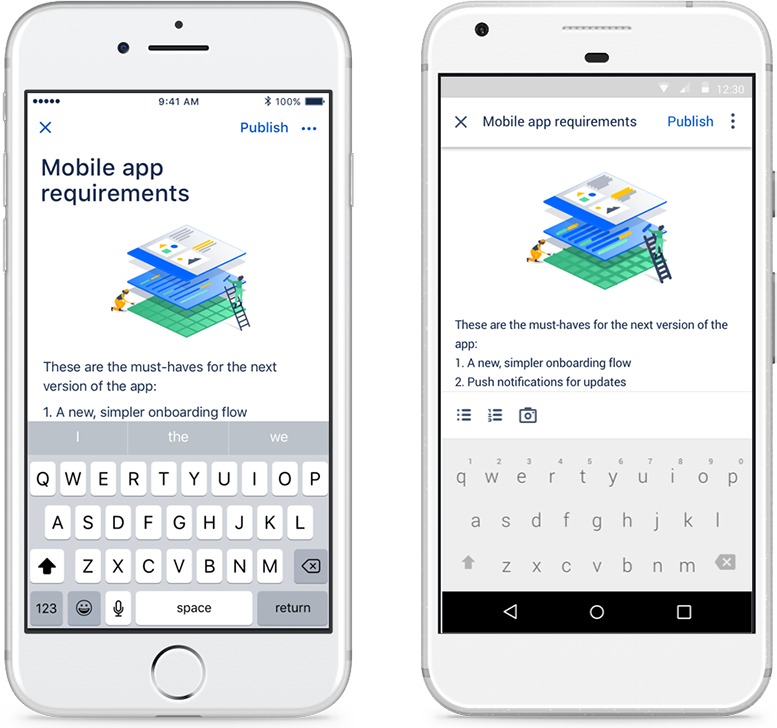 Creating Confluence documents on a mobile phone