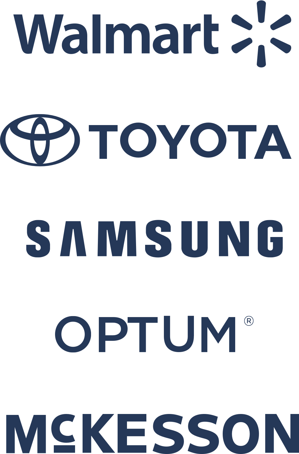 Logotipos da Walmart, da Toyota, da Samsung, da Optum e da McKesson