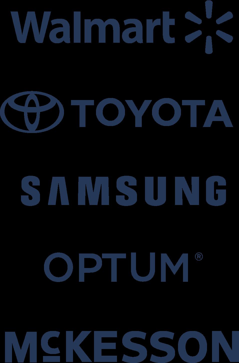 Logotipos de Walmart, Toyota, Samsung, Optum y McKesson