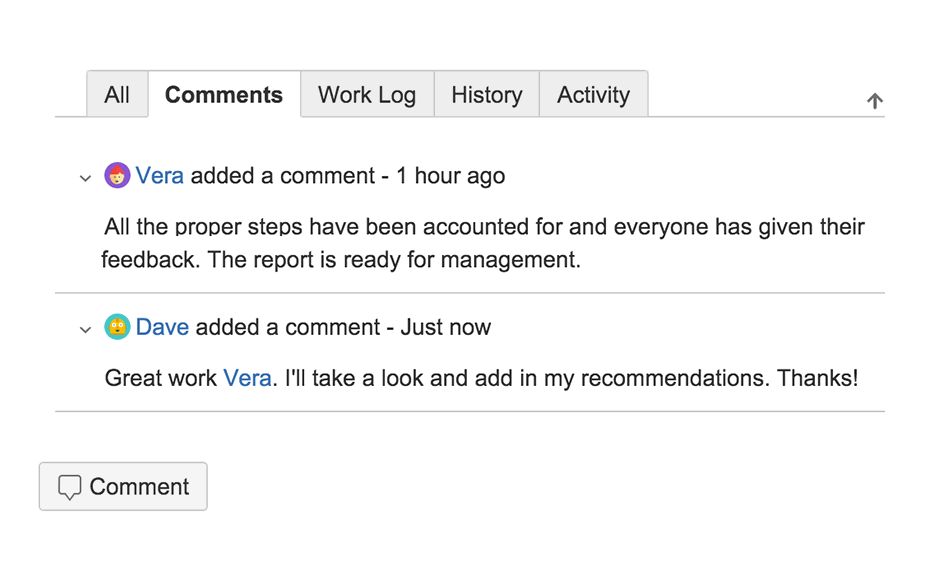Screenshot of comments in Jira ticket