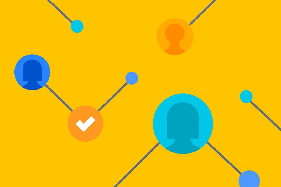 Avatares e marcas de verificação como pontos centrais conectados
