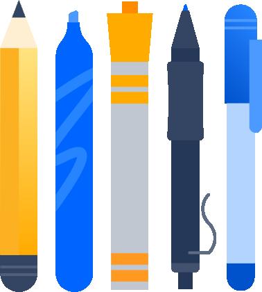 Рисунок: ручка и карандаши