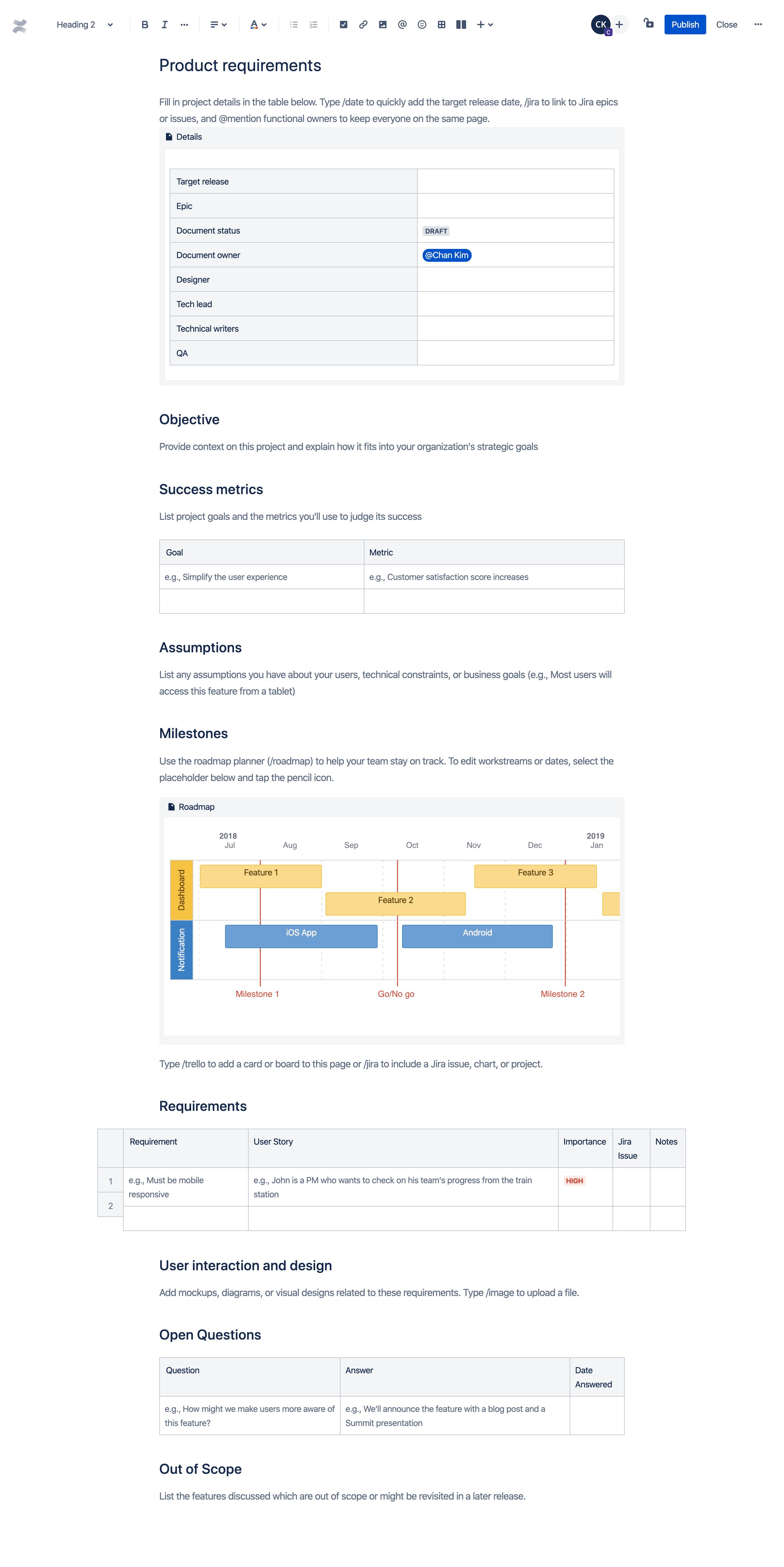 Template de requisitos do produto