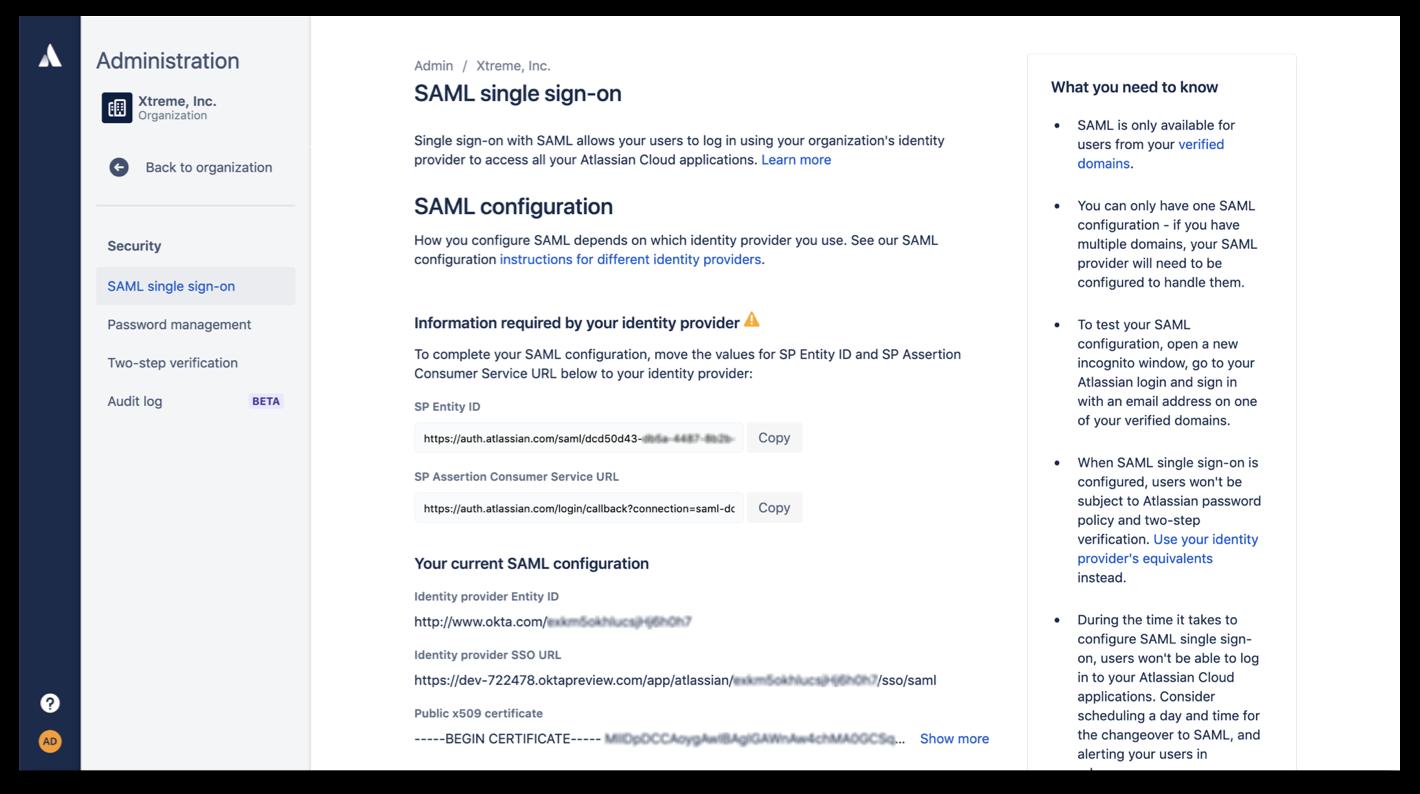SAML sign on screenshot
