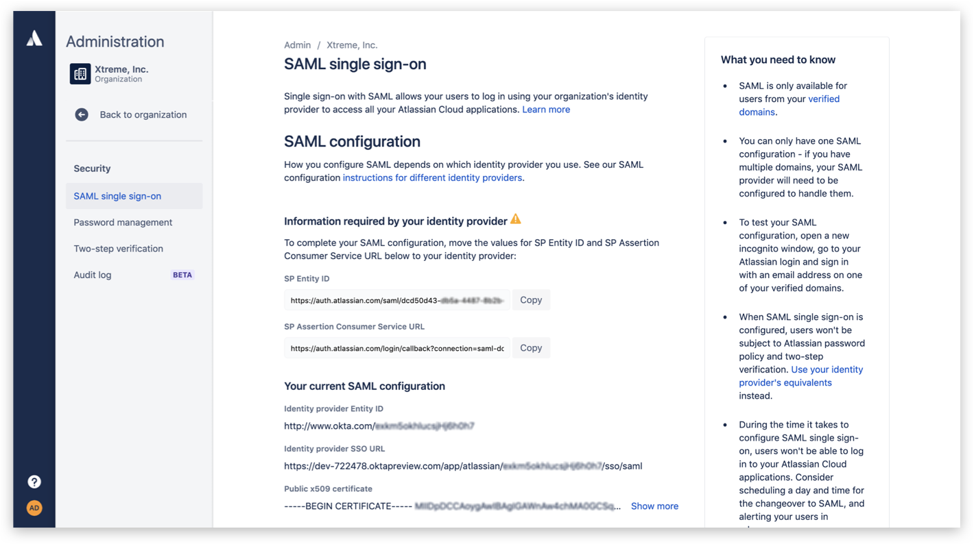 Screenshot di single sign-on SAML