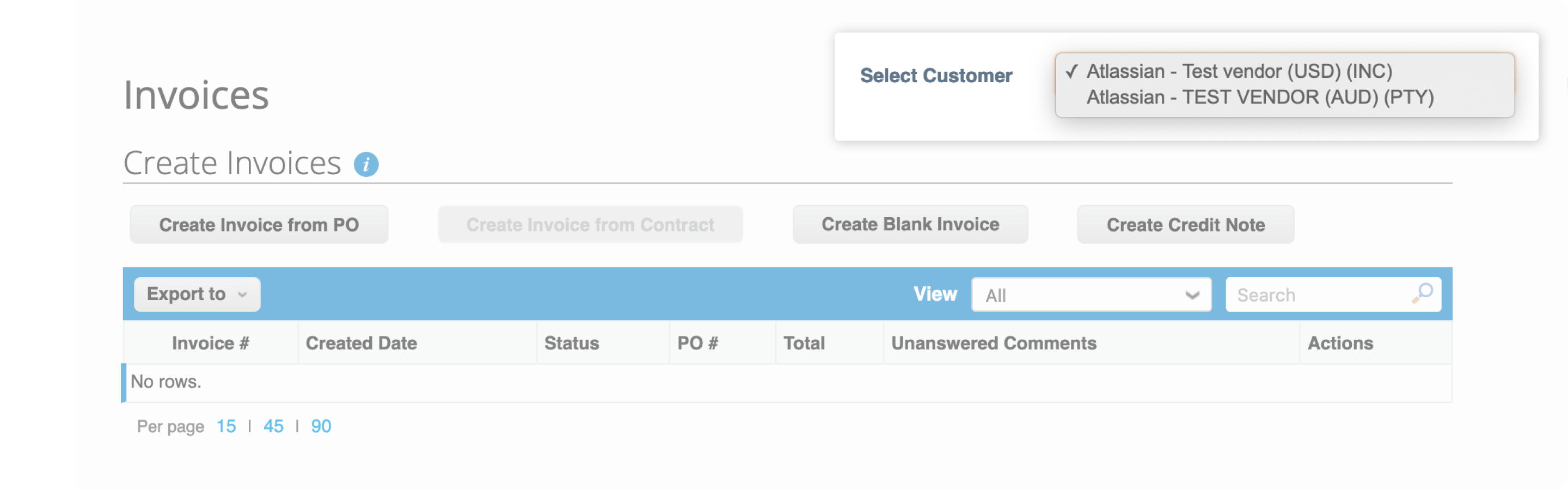 Supplier needs to go to Orders tab and search for the PO to be used. Click the yellow coins to start creating an invoice