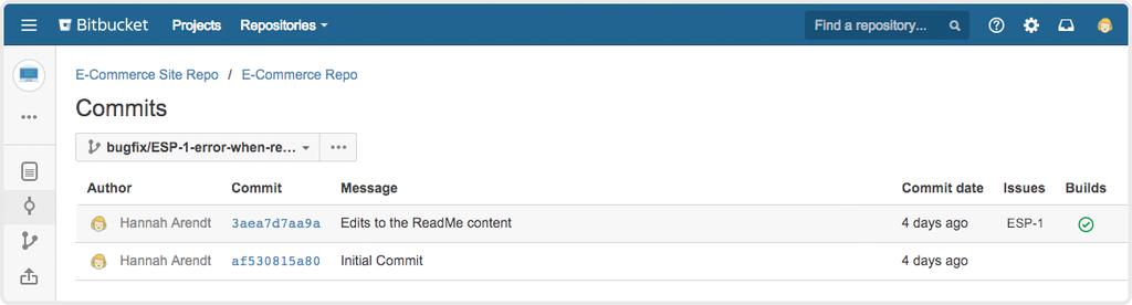 Bitbucket commits screenshot