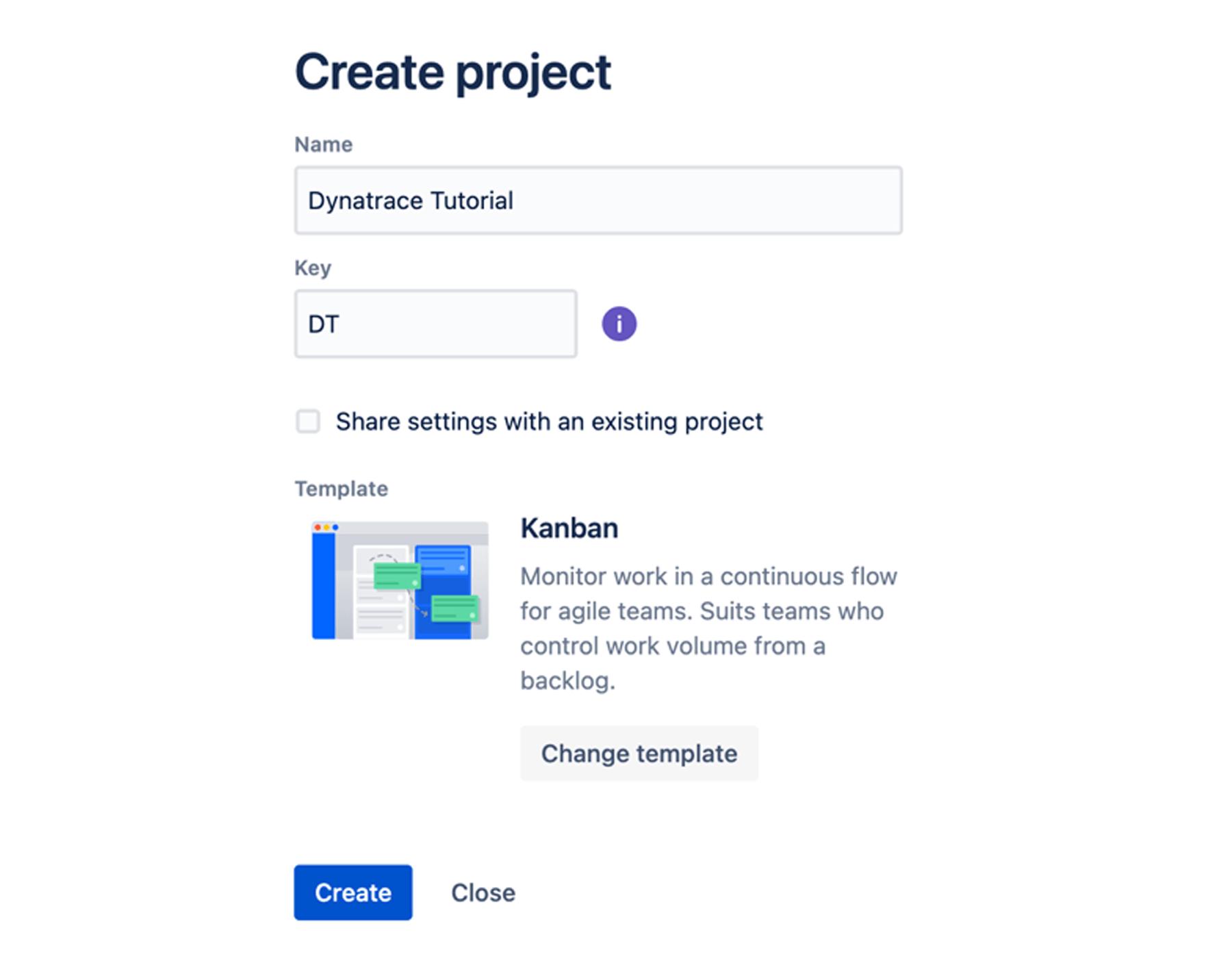 Create project window
