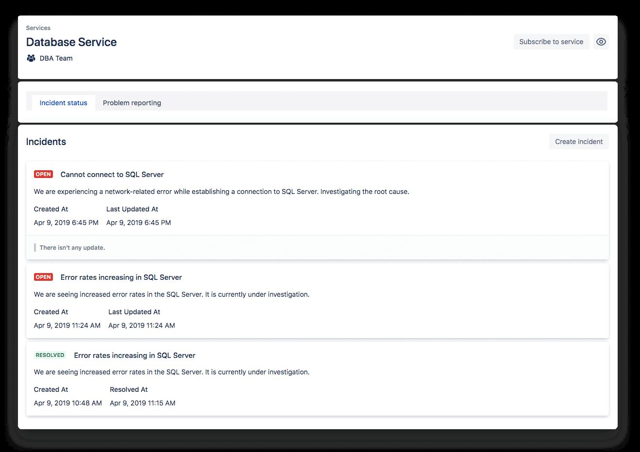 Captura de tela do status do serviço
