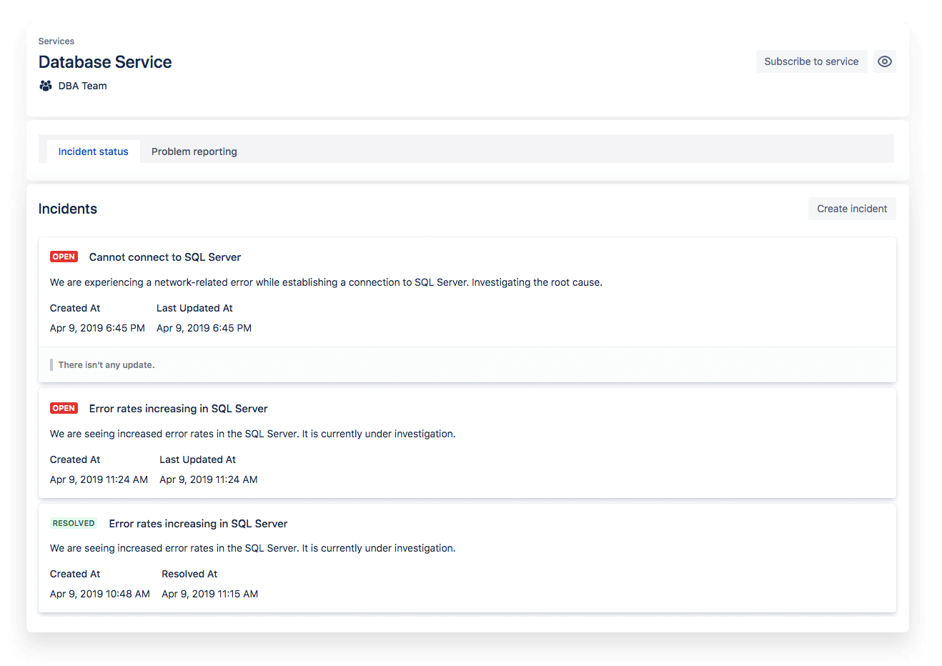 Service status snapshot