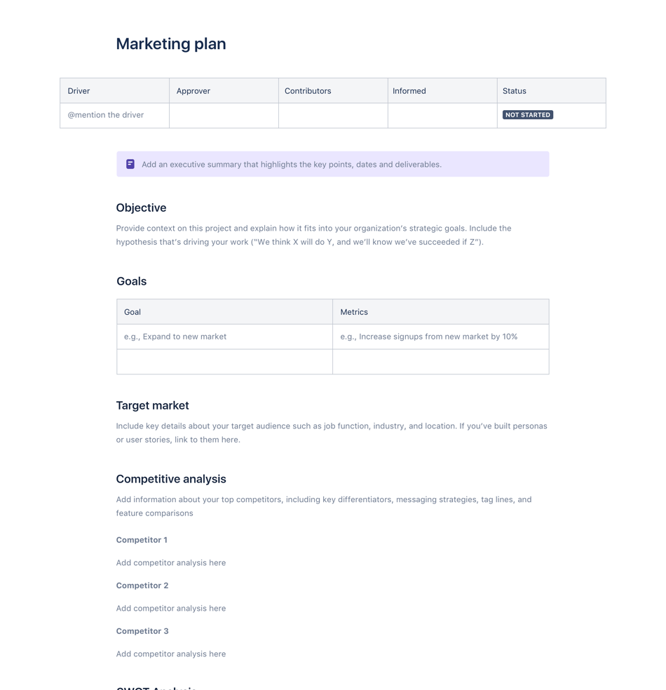Plan marketingowy — szablon