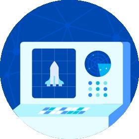 Space rocket control center
