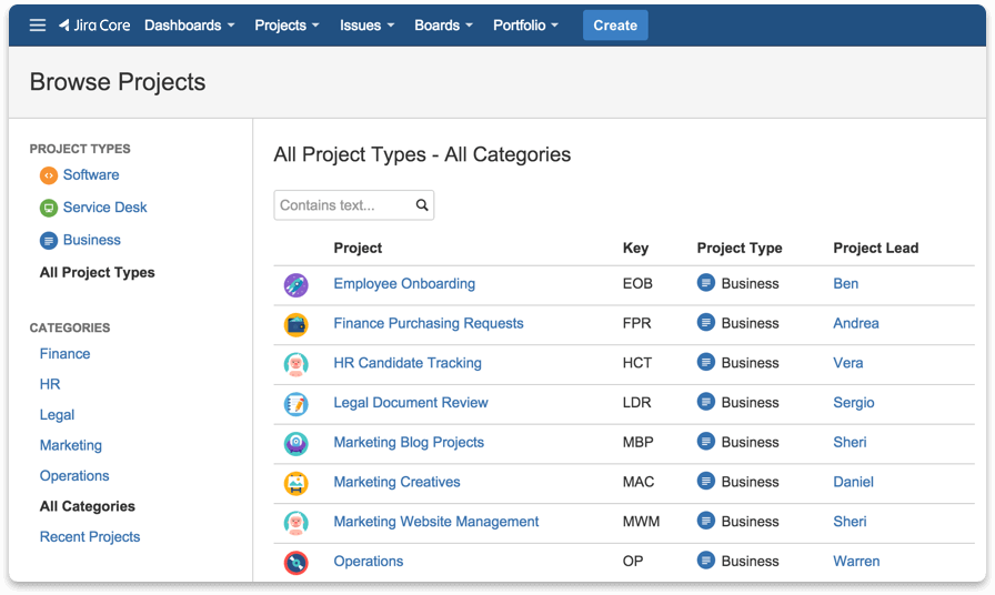 Screenshot Jira Core