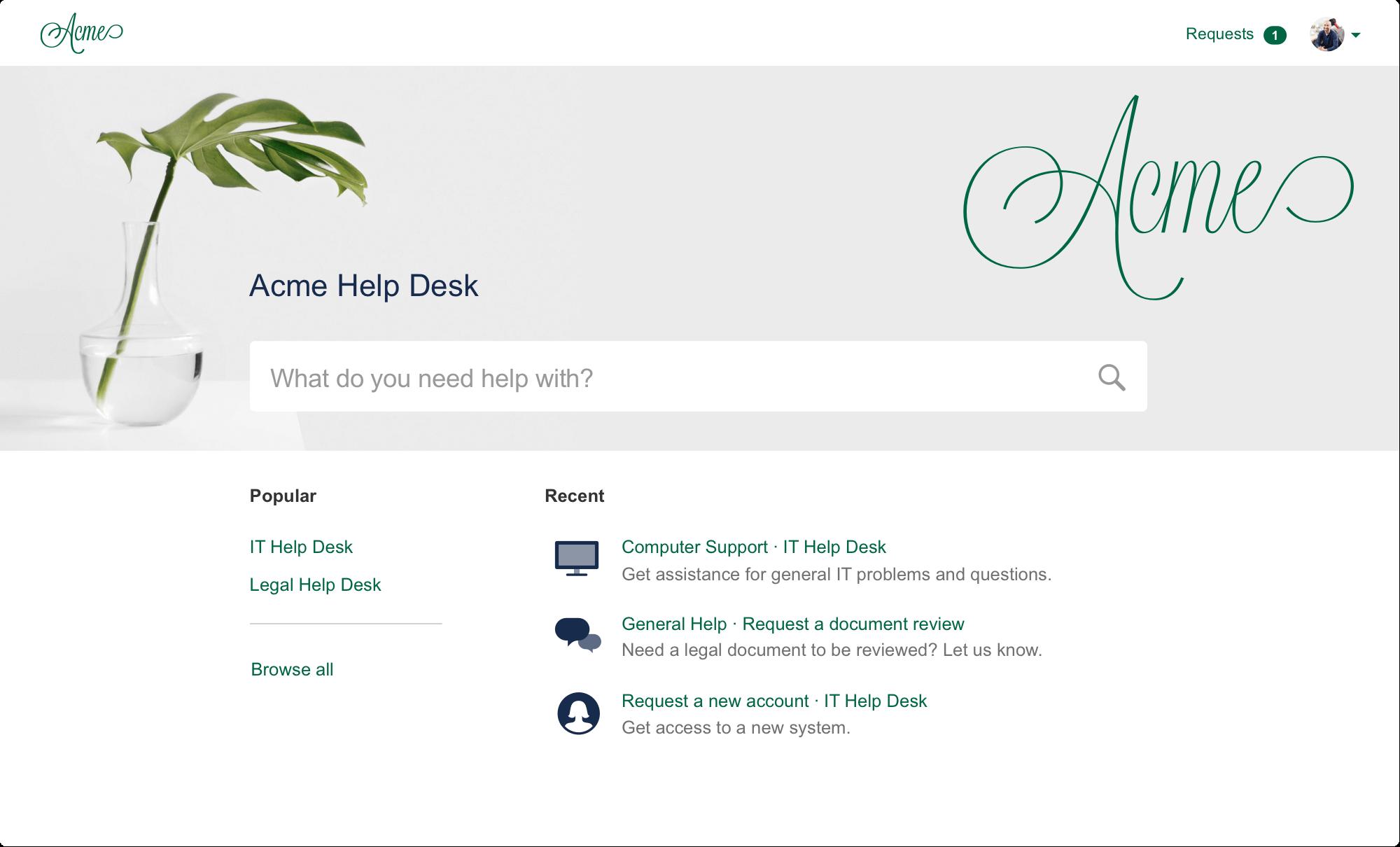 Screenshot of Jira Service Desk customer portal