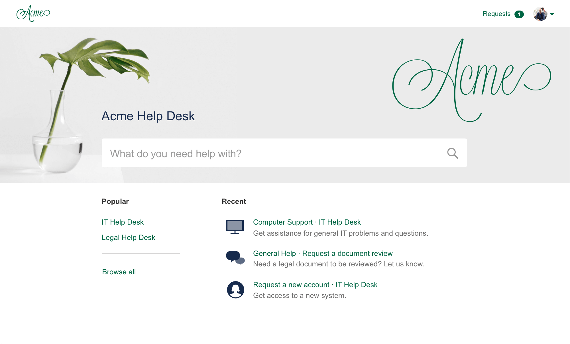 Screenshot of Jira Service Desk customer portal