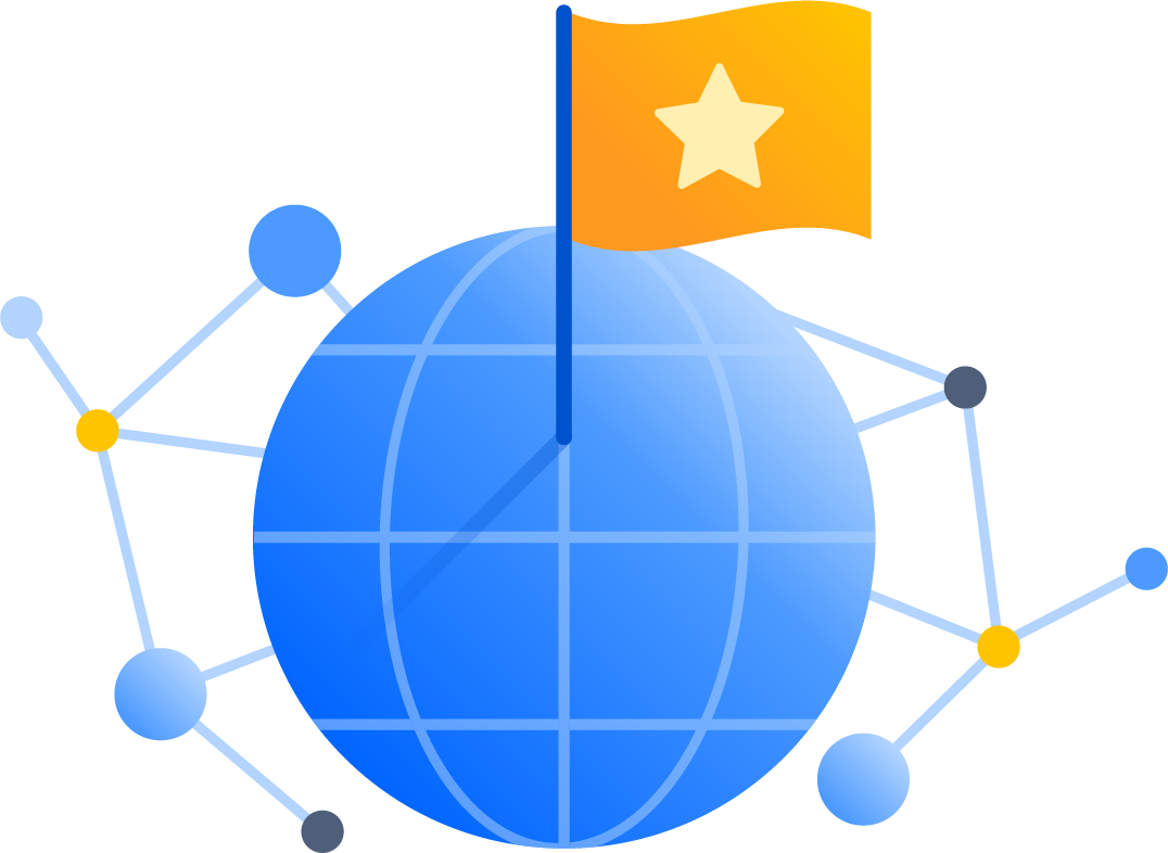 Flagge im globalen Netzwerk