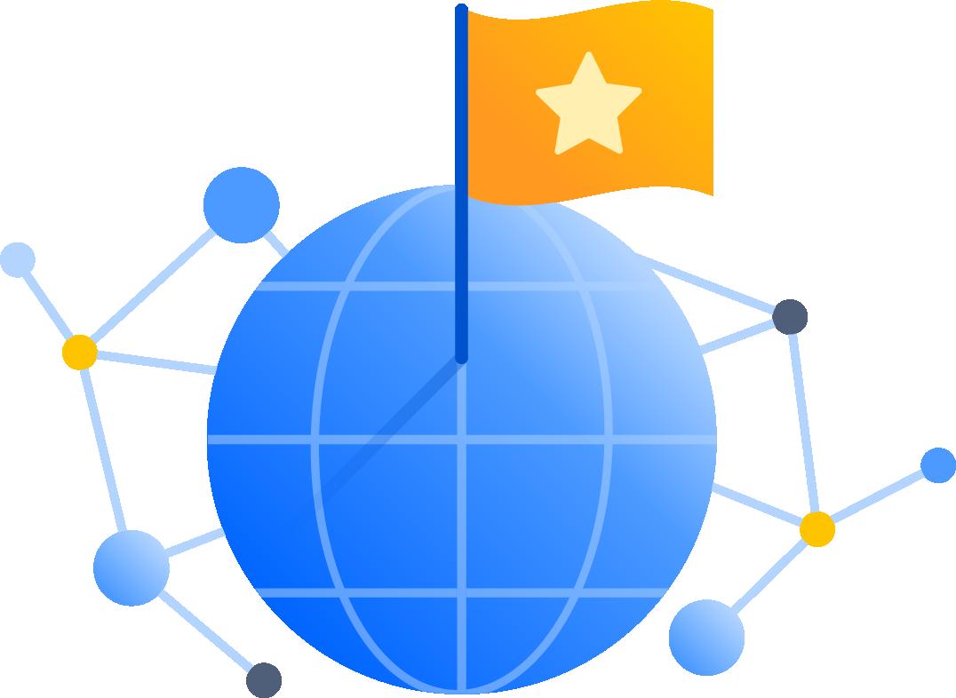 Globe avec des nœuds et une étoile