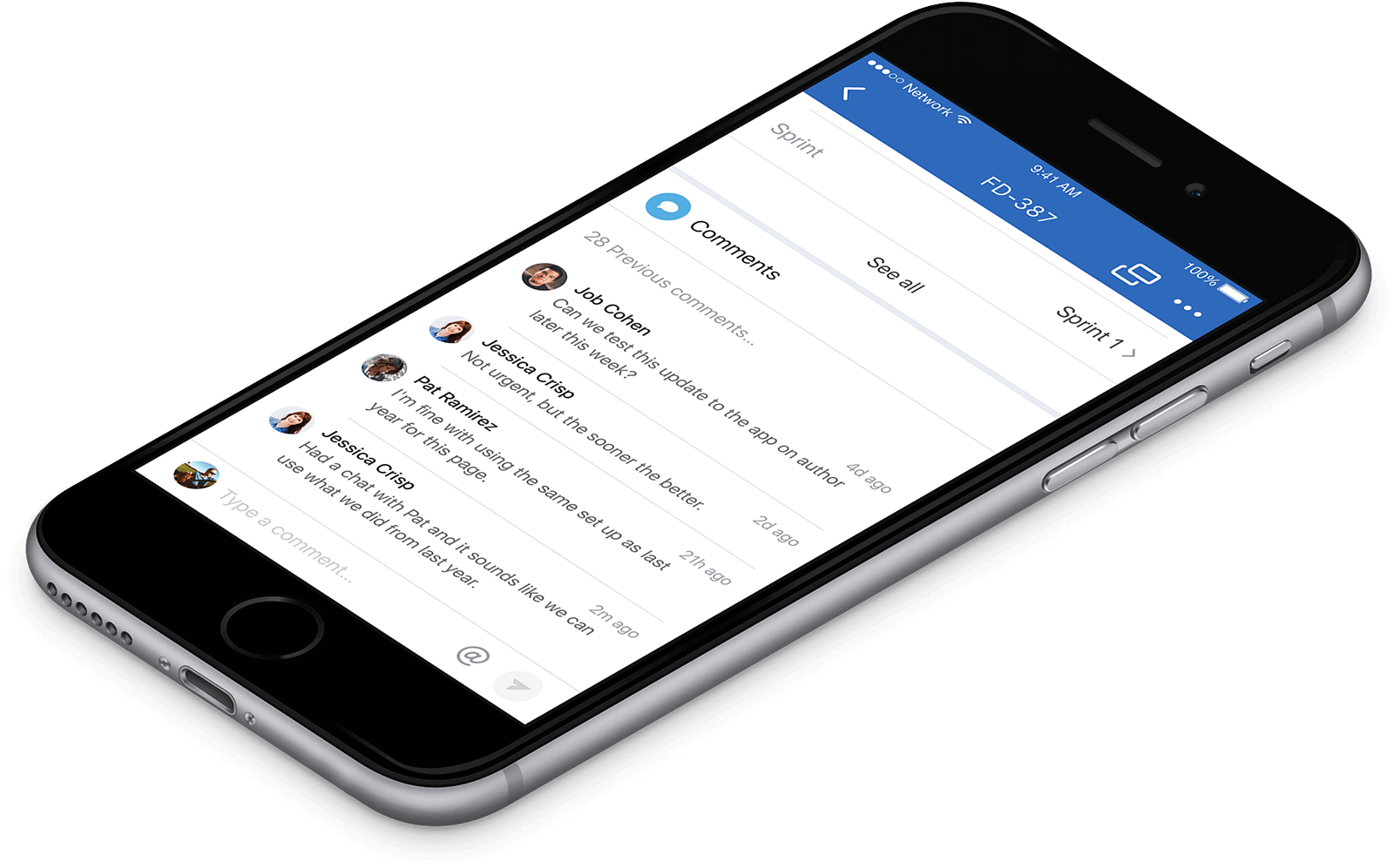 Mobile phone with notifications of comments on Jira ticket