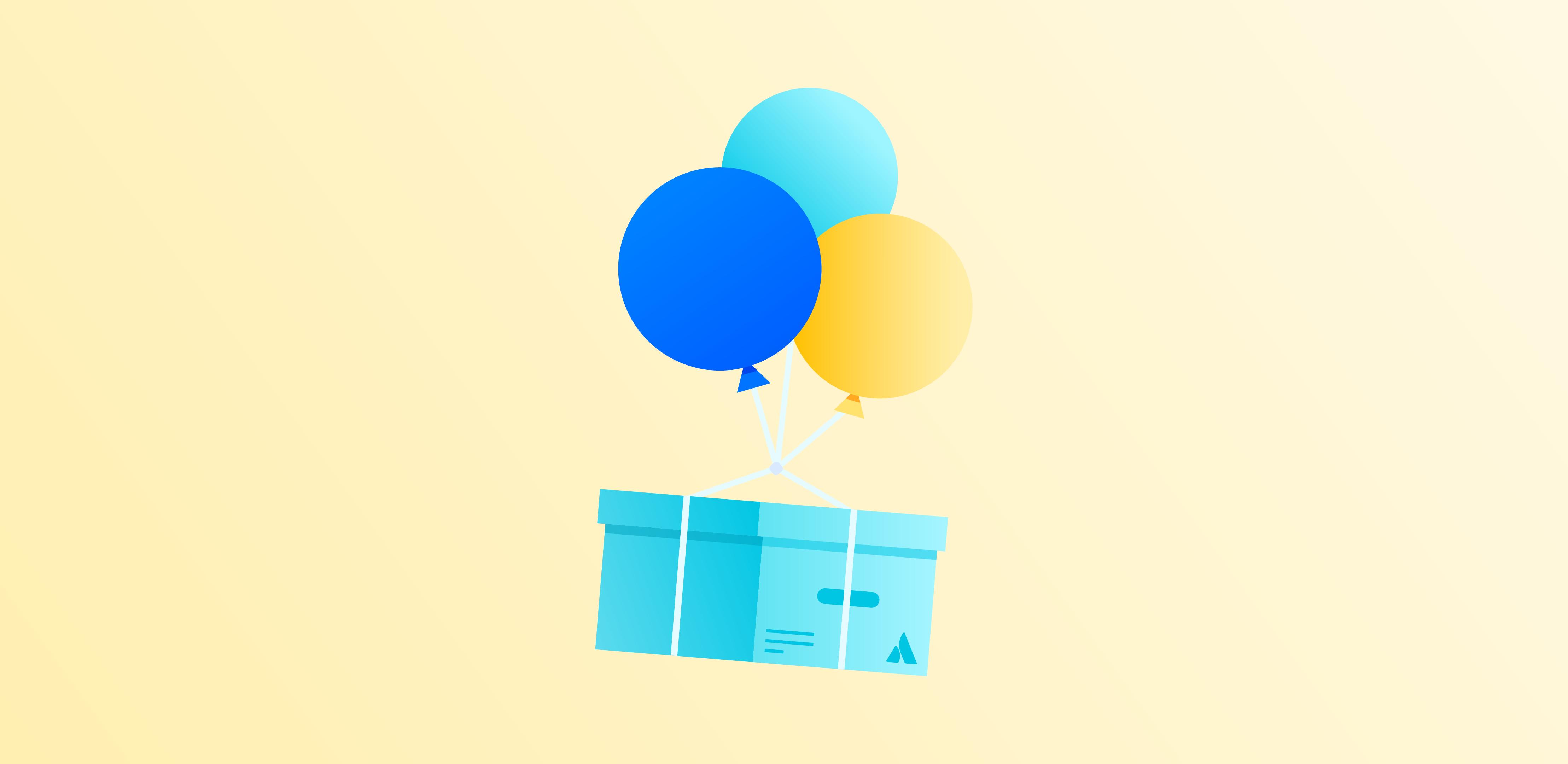 Ballons, an denen eine Kiste hängt